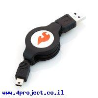 כבל USB A ל-miniB נמתח ל-1 מטר