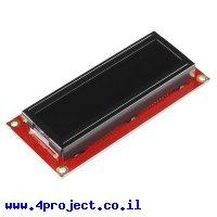 LCD טקסט 16x2, אדום על שחור, 3.3V