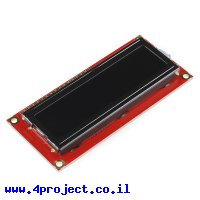 LCD טקסט 16x2, אדום על שחור, 5V