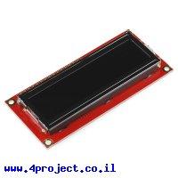 LCD טקסט 16x2, לבן על שחור, 5V