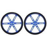 """גלגל 80x10 מ""""מ כחול לציר D בקוטר 3 מ""""מ - ערכה של 2"""