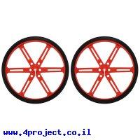 """גלגל 90x10 מ""""מ אדום לציר D בקוטר 3 מ""""מ - ערכה של 2"""