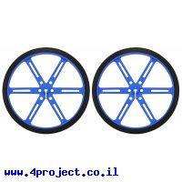 """גלגל 90x10 מ""""מ כחול לציר D בקוטר 3 מ""""מ - ערכה של 2"""