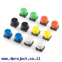 כפתור עם כובע צבעוני - ערכה של 12, 2 מכל צבע