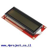 LCD טקסט 16x2, שחור על RGB צבעוני, 5V