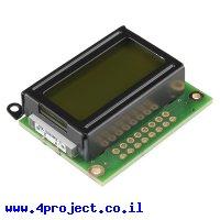 LCD טקסט 8x2, שחור על ירוק, 5V