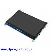 """מסך קיבולי LCD 7"""" IPS 1024x600, זכוכית מגן, ממשק HDMI, מגע USB"""