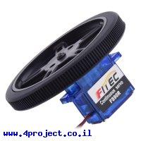 """גלגל 60x8 מ""""מ שחור לציר מנוע סרוו מיקרו - ערכה של 2"""
