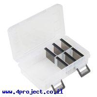 קופסה פלסטית קטנה עם חלוקה לתאים