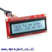 LCD טקסט 16x2, כתב שחור על RGB רקע, 3.3V, ממשק טורי