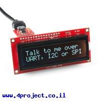 LCD טקסט 16x2, כתב RGB על רקע שחור, 3.3V, ממשק טורי