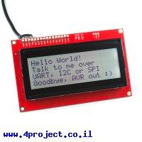 LCD טקסט 20x4, כתב שחור על RGB רקע, 3.3V, ממשק טורי