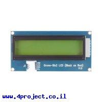 LCD טקסט 16x2, שחור על אדום - חיבור Grove