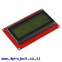 LCD טקסט 20x4, שחור על ירוק, 5V