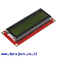 LCD טקסט 16x2, שחור על ירוק, 3.3V, ממשק טורי