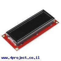 LCD טקסט 16x2, אדום על שחור, 3.3V, ממשק טורי