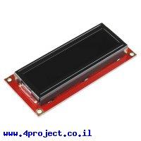 LCD טקסט 16x2, לבן על שחור, 3.3V, ממשק טורי