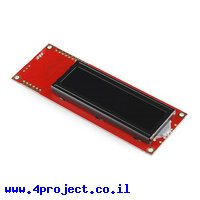 LCD טקסט 16x2, אדום על שחור, 5V, ממשק טורי