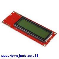 LCD טקסט 16x2, שחור על ירוק, 5V, ממשק טורי