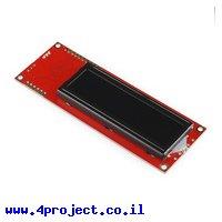LCD טקסט 16x2, לבן על שחור, 5V, ממשק טורי