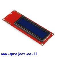 LCD טקסט 16x2, צהוב על כחול, 5V, ממשק טורי