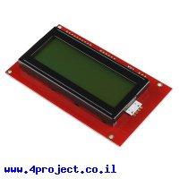 LCD טקסט 20x4, שחור על ירוק, 5V, ממשק טורי
