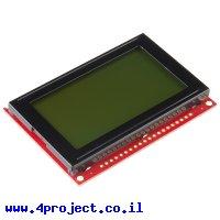 LCD גרפי שחור על ירוק, 128x64 STN, תאורת רקע