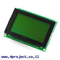 LCD גרפי שחור על ירוק, 128x64 STN, תאורת רקע, ממשק טורי