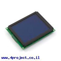 LCD גרפי לבן על כחול, 160x128 STN, תאורת רקע, ממשק טורי