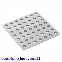 """לוח מחורר 8x8, מידות 56x56 מ""""מ, 7x7 חורים, אלומיניום"""