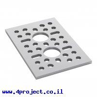 """לוח מחורר תבנית goBILDA,  מידות 48x72 מ""""מ, 1x2 חורים, אלומיניום"""