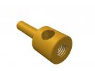 """תמונה של מוצר חיבור לציר 4 מ""""מ - חור 1 - עם הברגה פנימית, עם מוט חלק בולט"""