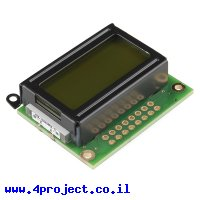 LCD טקסט 8x2, שחור על ירוק, 3.3V