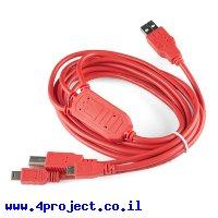 כבל USB תלת ראשי - עם HUB