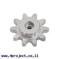 """גלגל שיניים לשרשרת 0.250"""", ציר C1-24T, אלומיניום - 10 שיניים"""