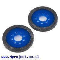 """גלגל פלסטיק 50.8 מ""""מ (2"""") לתבנית חורים 0.770"""" - כחול - זוג"""