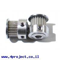 """גלגלת רצועת תזמון GT2 6mm לציר 6.35 מ""""מ - 20 שיניים"""