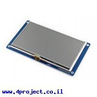 """מסך מגע LCD 7"""" 800x480, ממשק RGB, ממשק מגע אנלוגי"""