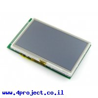 """מסך מגע LCD 4.3"""" 480x272, ממשק RGB, ממשק מגע אנלוגי"""