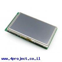 """מסך מגע LCD 4.3"""" 480x272, ממשק RGB, ממשק מגע SPI"""