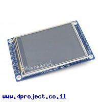 """מסך מגע LCD 3.2"""" 320x240, ממשק 16bit, ממשק מגע SPI"""