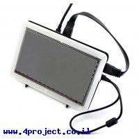"""מסך קיבולי LCD 7"""" IPS 1024x600, מסגרת, ממשק HDMI, מגע USB"""