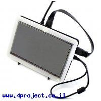 """מסך קיבולי LCD 7"""" 800x480, מסגרת, ממשק HDMI, מגע USB"""