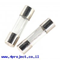 """פיוז זכוכית 5x20 מ""""מ, 0.1A/250V - פעולה מהירה"""