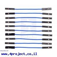 """חוט גישור איכותי - נקבה/נקבה 5 ס""""מ - חבילה של 10 כחולים"""