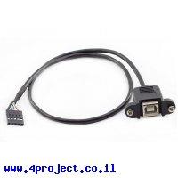 """כבל USB להתקנה על פנל - USB-B למחבר שורה - 30 ס""""מ"""