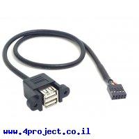 """כבל USB להתקנה על פנל - USB-A נקבה כפול למחבר שורה - 50 ס""""מ"""