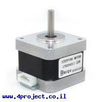 """מנוע צעד 200 צעדים, 42x33 מ""""מ, 2.8V/1.33A - מחבר JST"""