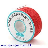חוט WireWrap חד גידי - AWG30 - אדום - 250 מטר