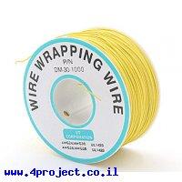 חוט WireWrap חד גידי - AWG30 - צהוב - 250 מטר